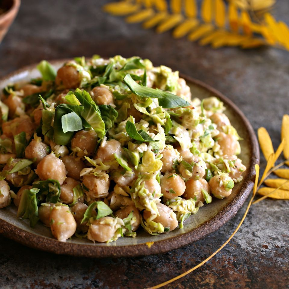 Chickpea and Brussels Sprouts Salad With Tahini Dressing