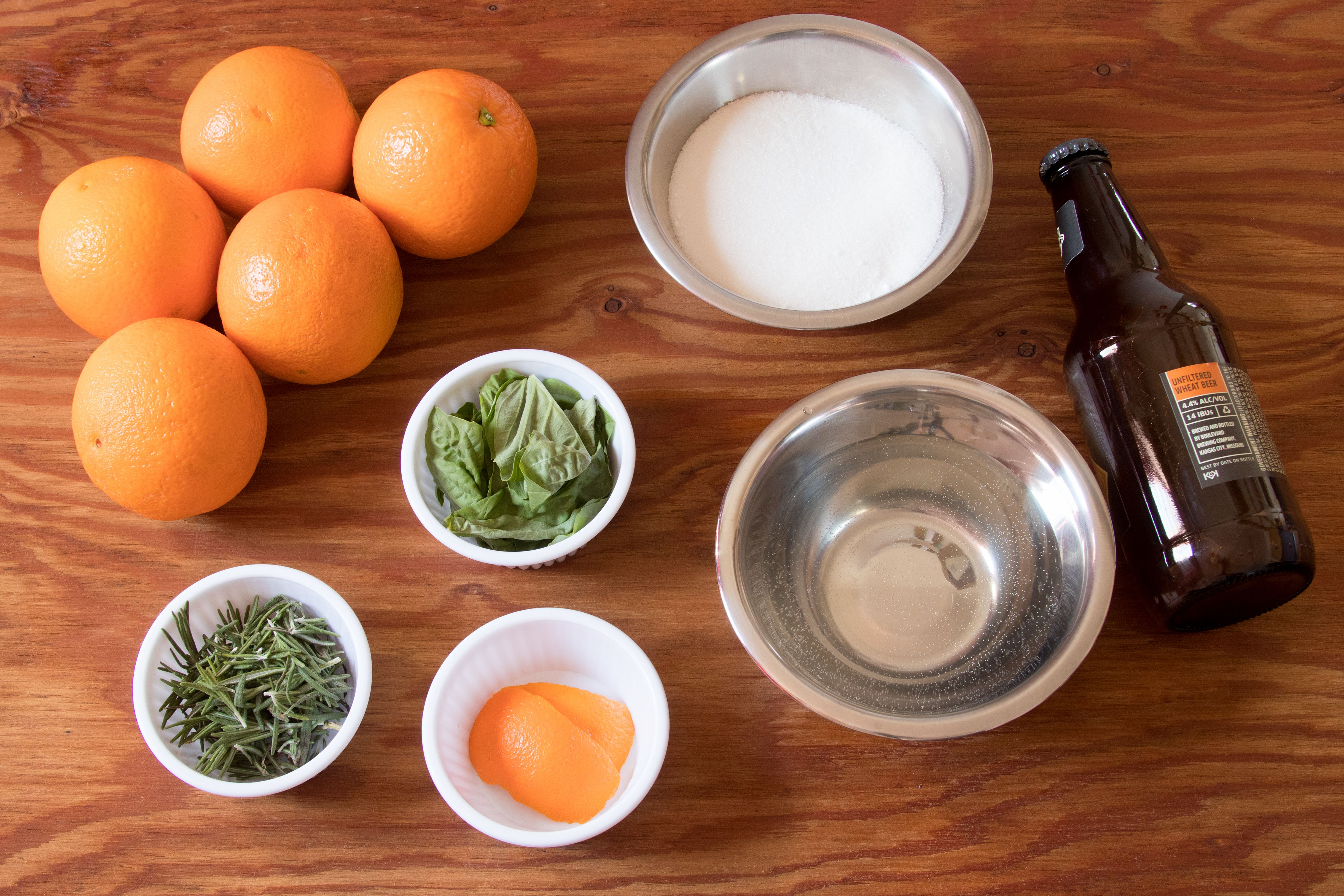 Ingredients for a Homemade Basil-Rosemary Orange Shandy