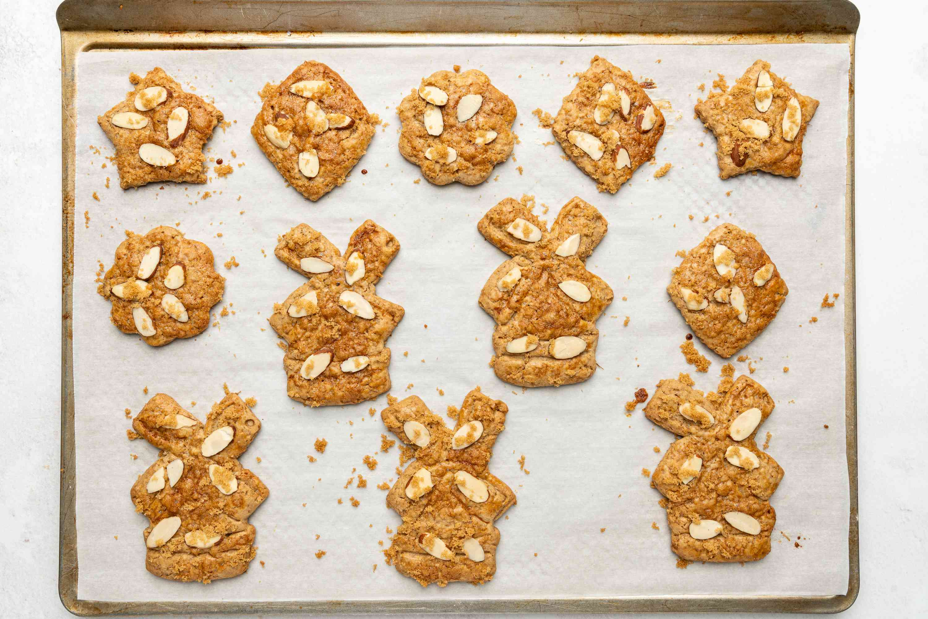 baked Dutch Speculaas (Windmill) Cookies on a baking sheet