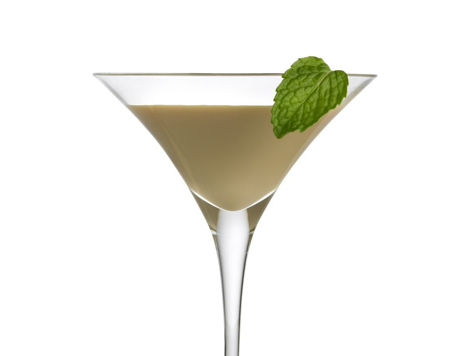 Irish cream liqueur with mint leaf
