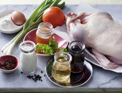Ingredients to make crispy duck pancakes, including mirin