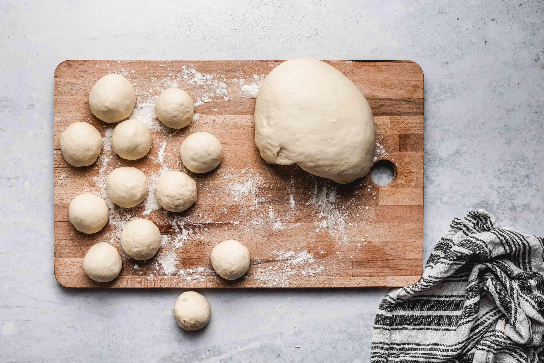 Balls of dough for dinner rolls