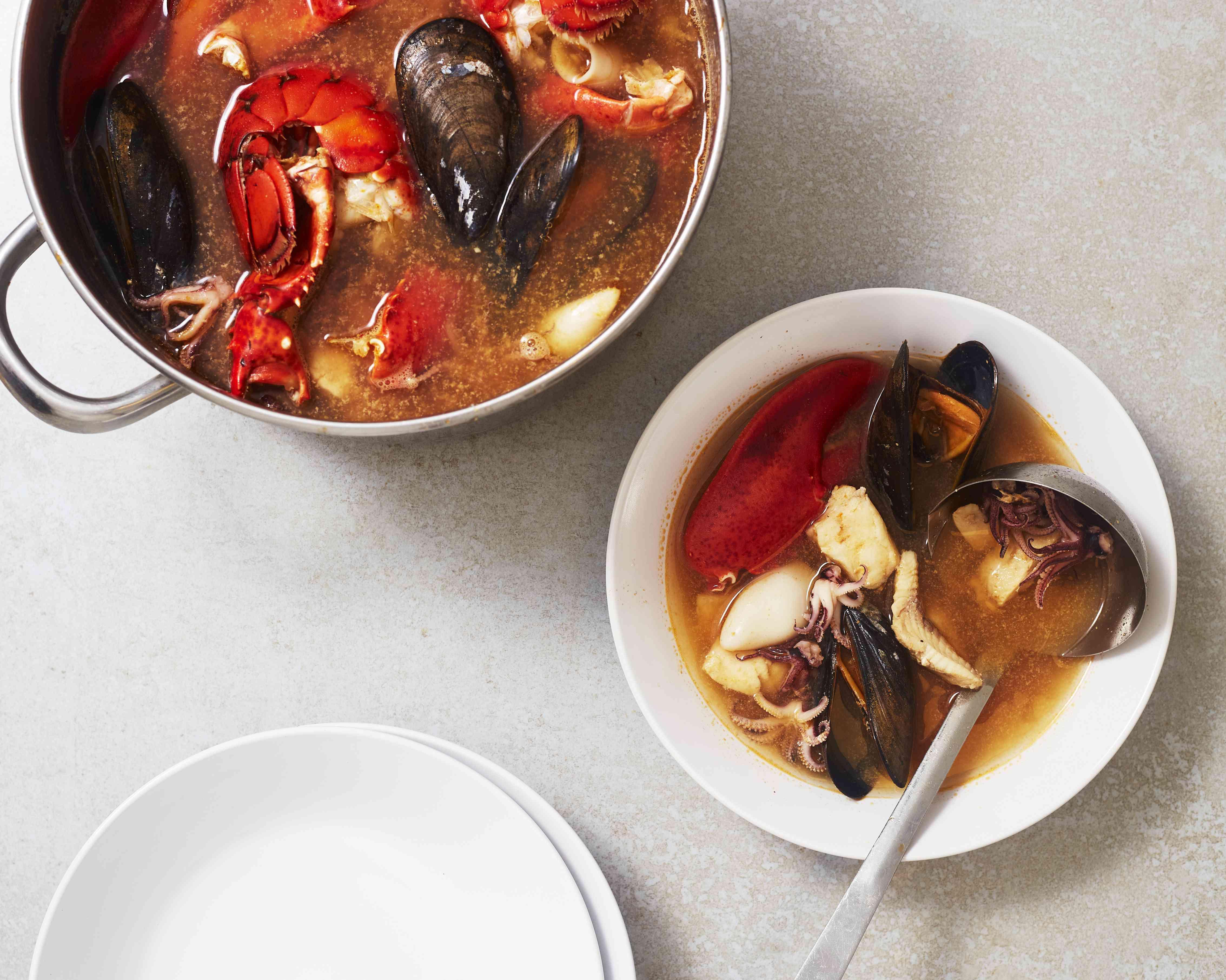 bouillabaisse in a bowl
