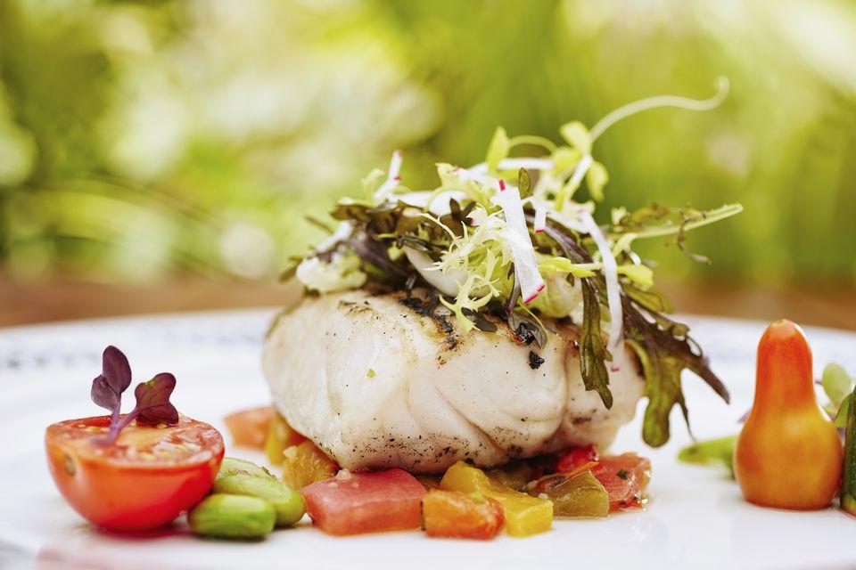 Chilean Sea Bass with Garlic Butter and Oregano Pesto