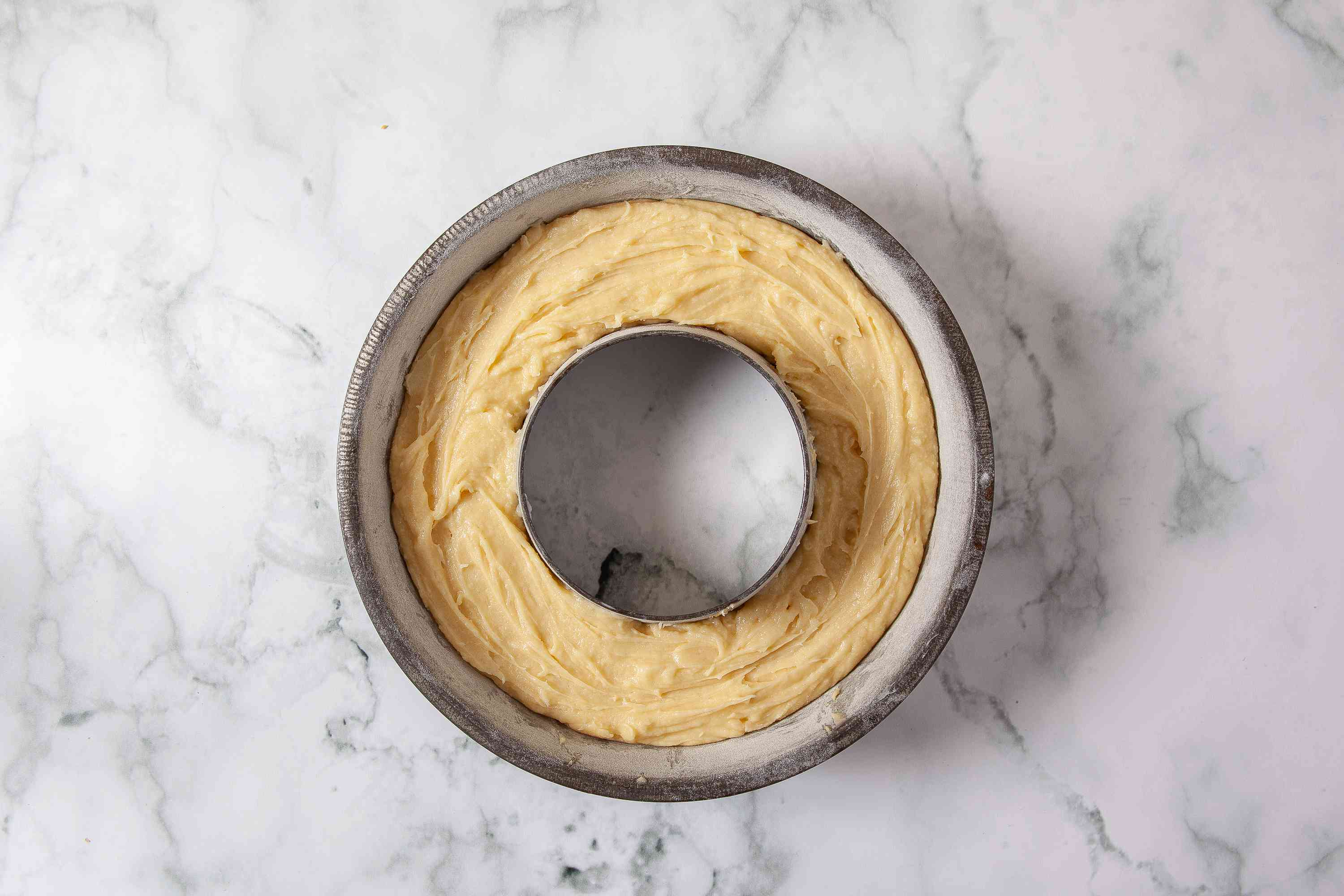 Donut Cake batter in a pan