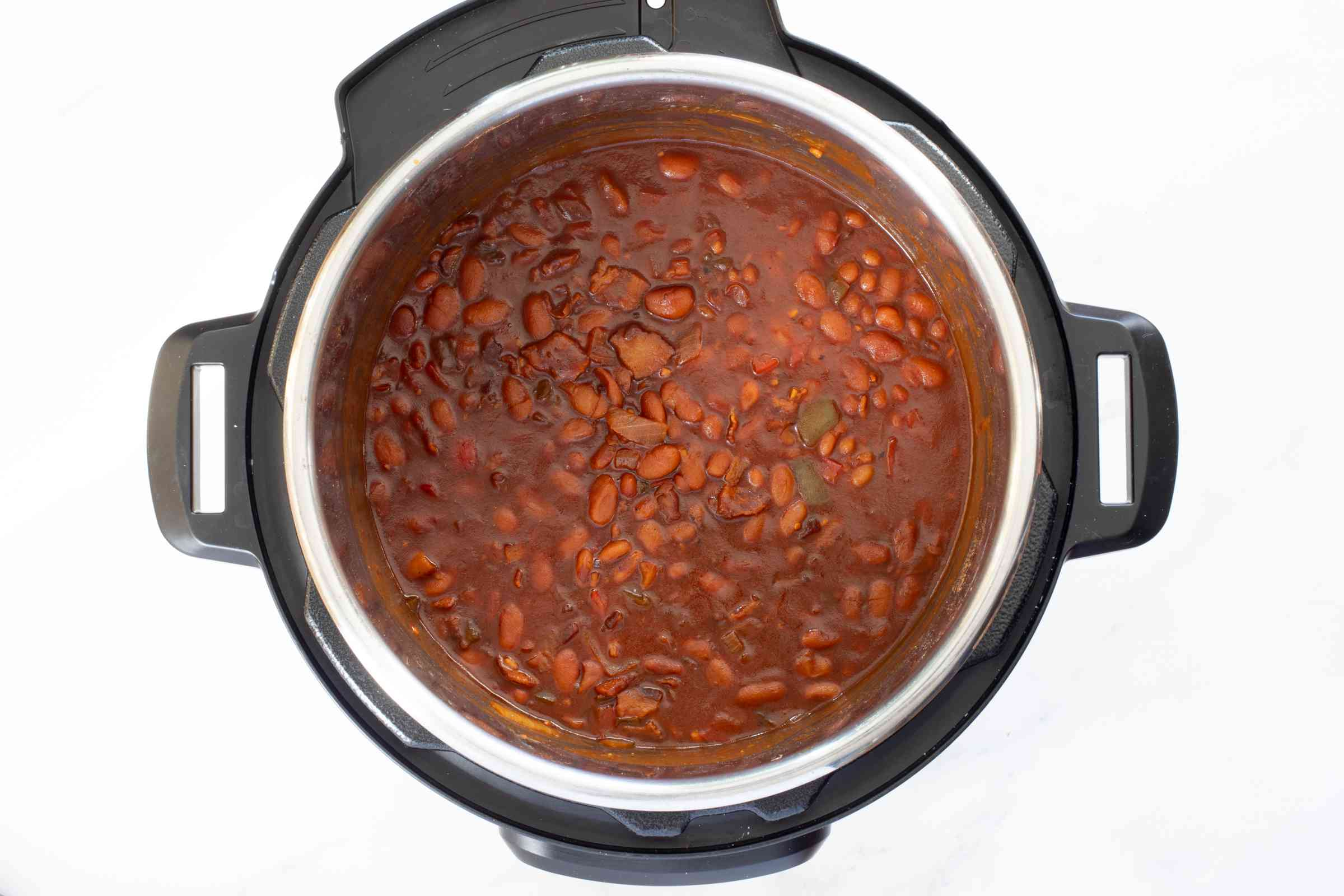 the cooked beans in the instant pot