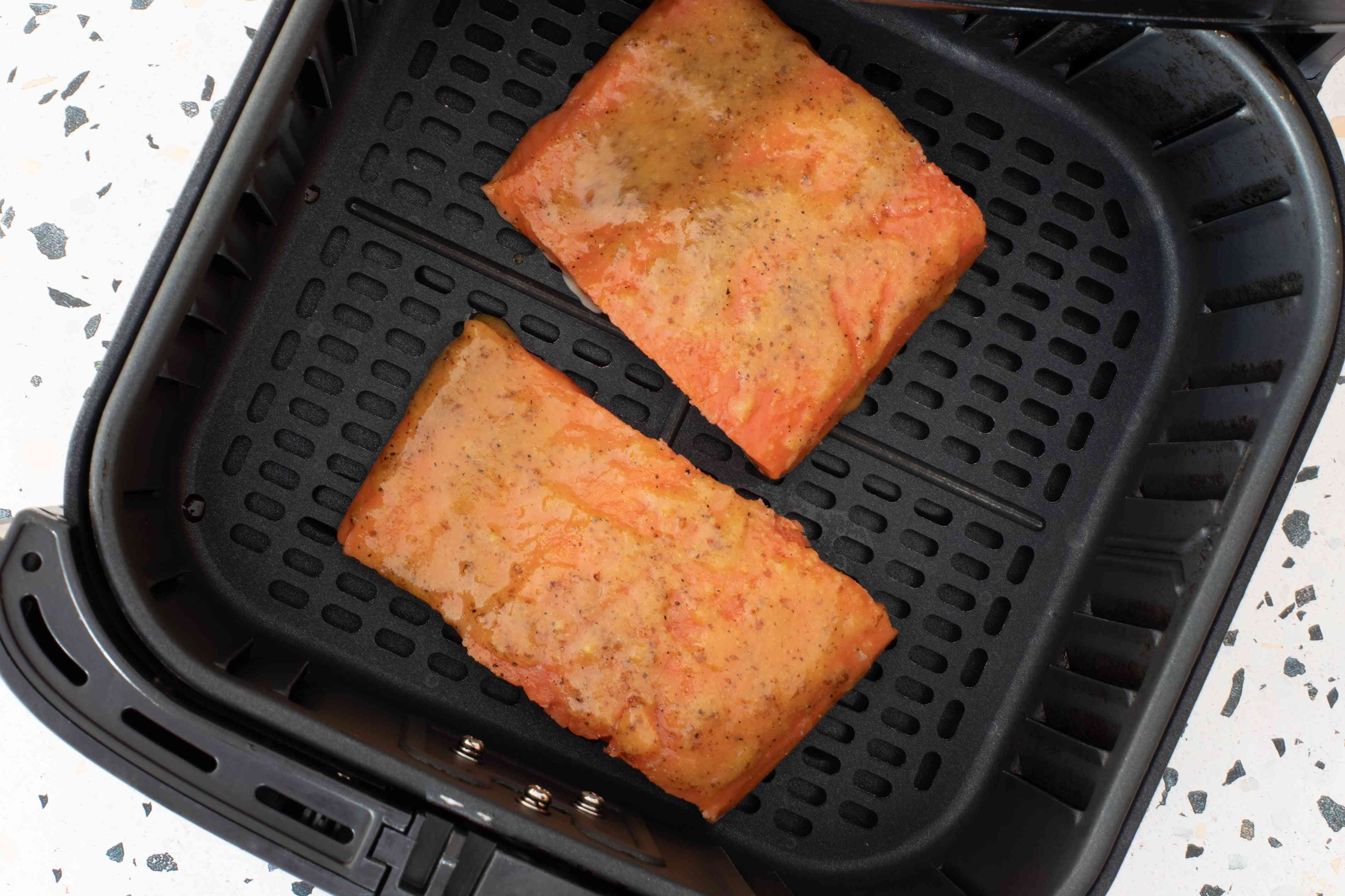 salmon fillets in the air fryer basket