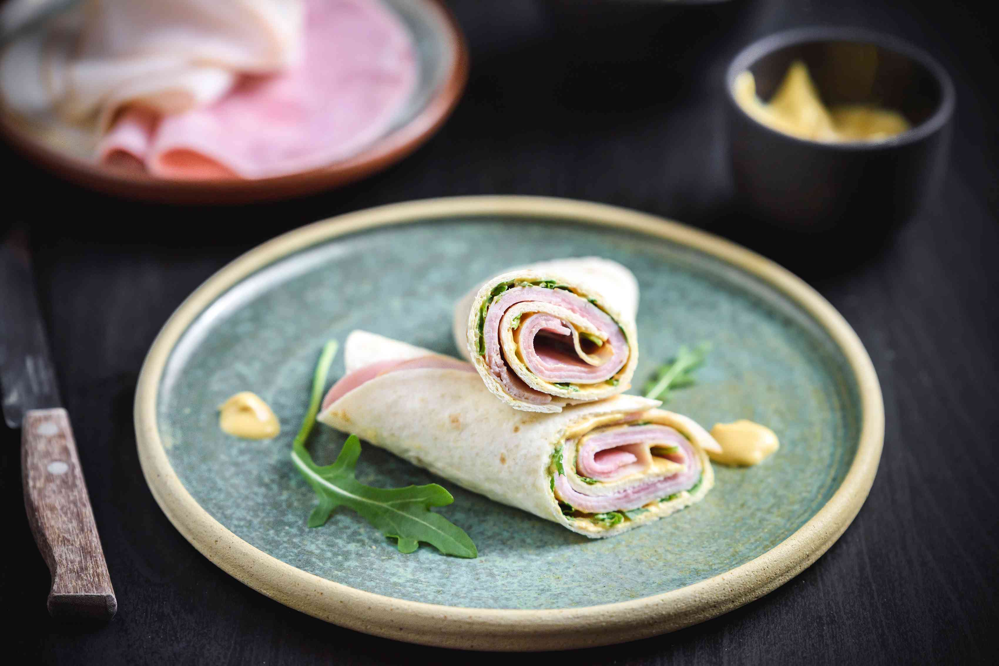 Low-cal ham and turkey wrap