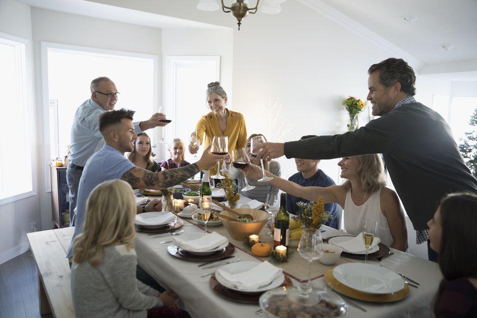 family toasting