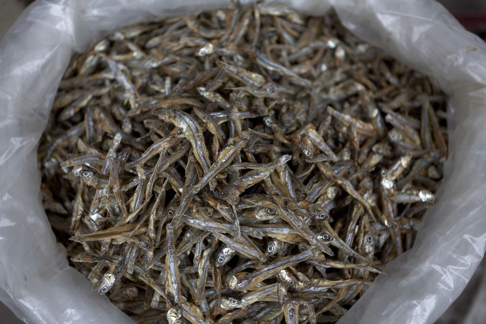 Dry anchovies are very popular in traditional Korean markets