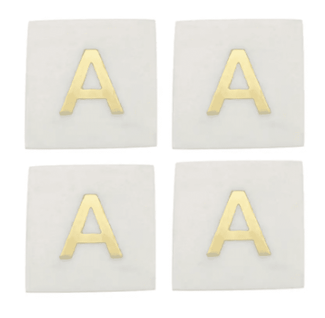 Set of 4 Monogram Marble Coasters