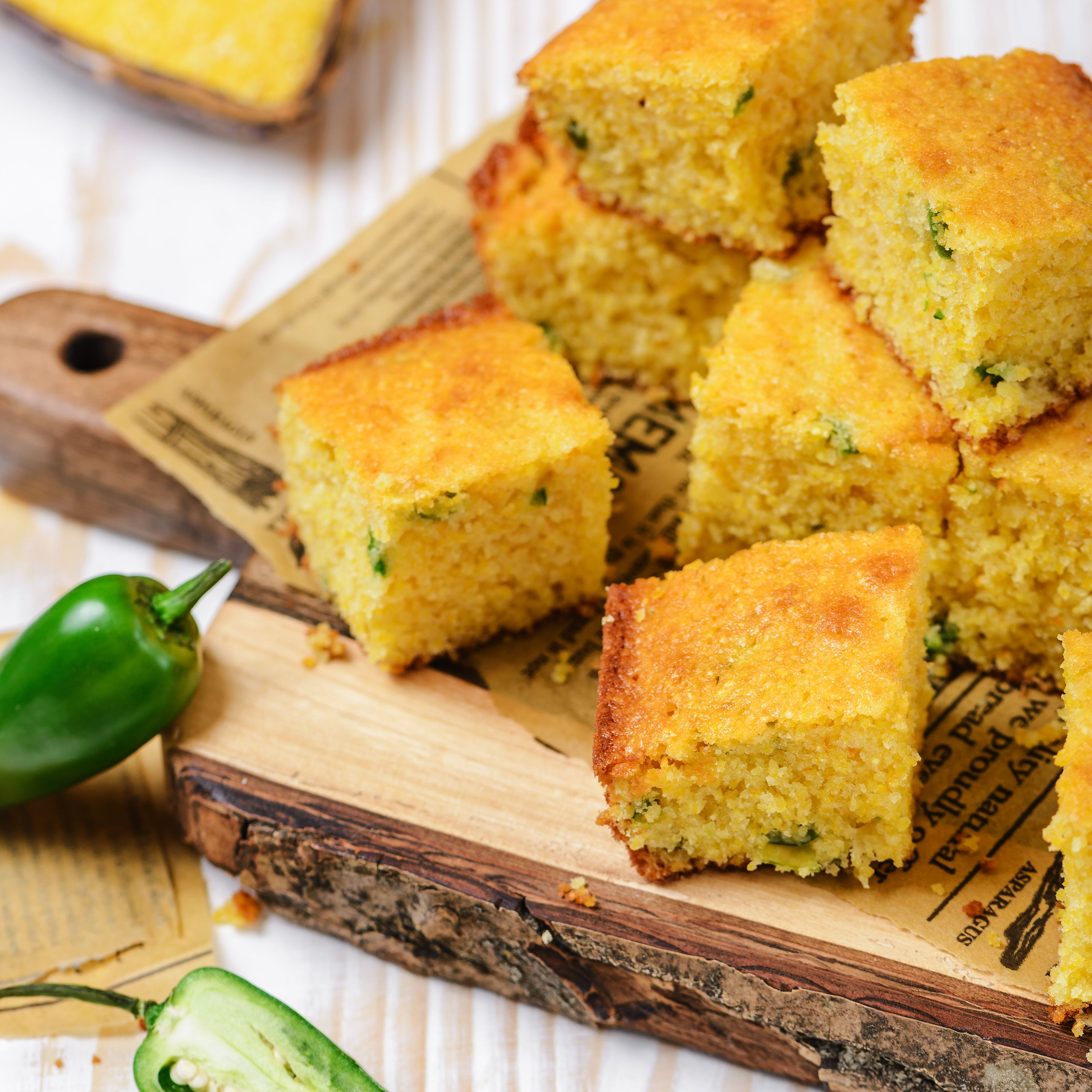 Let cool and cut jalapeno cornbread