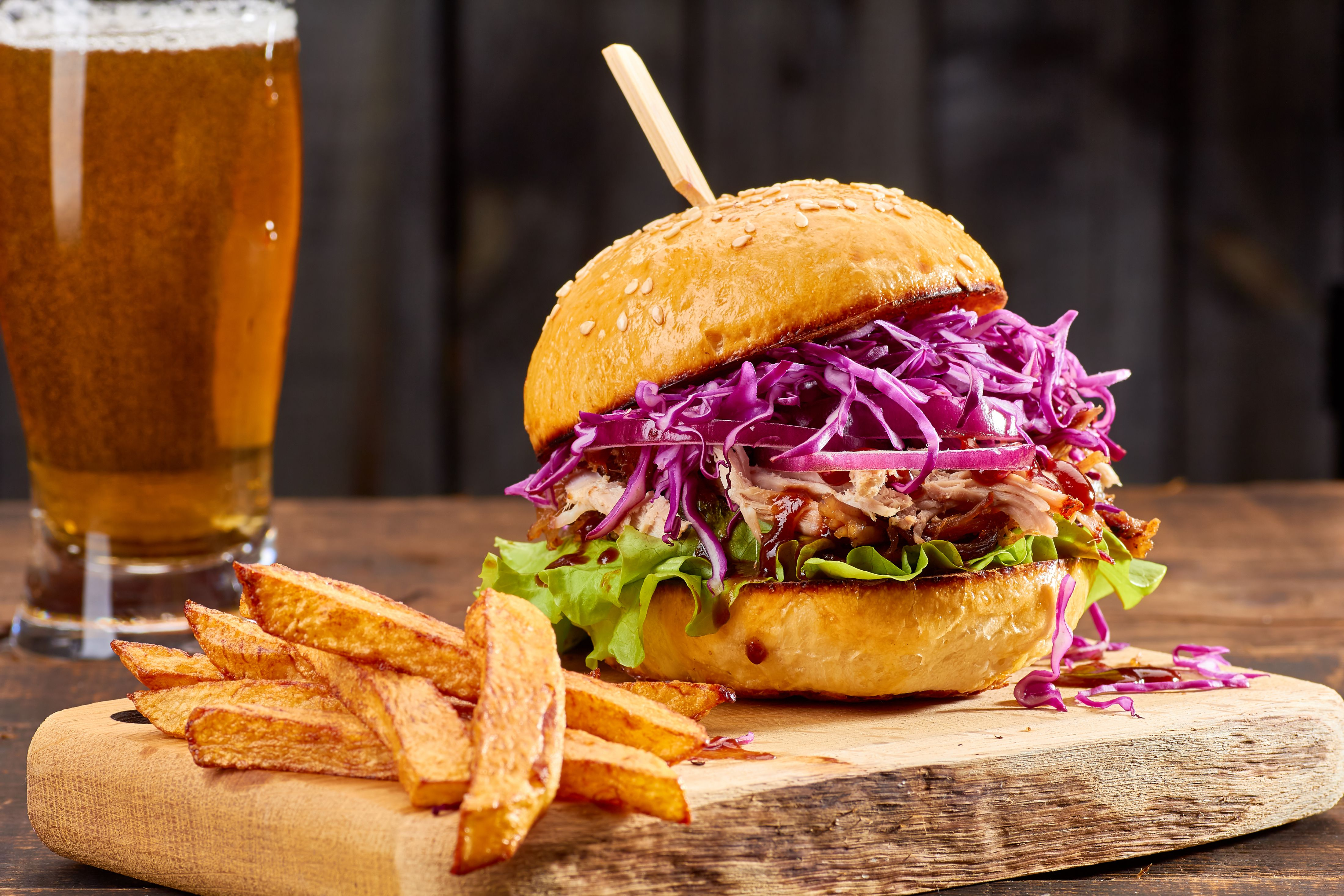Pulled pork with cabbage slaw and fries