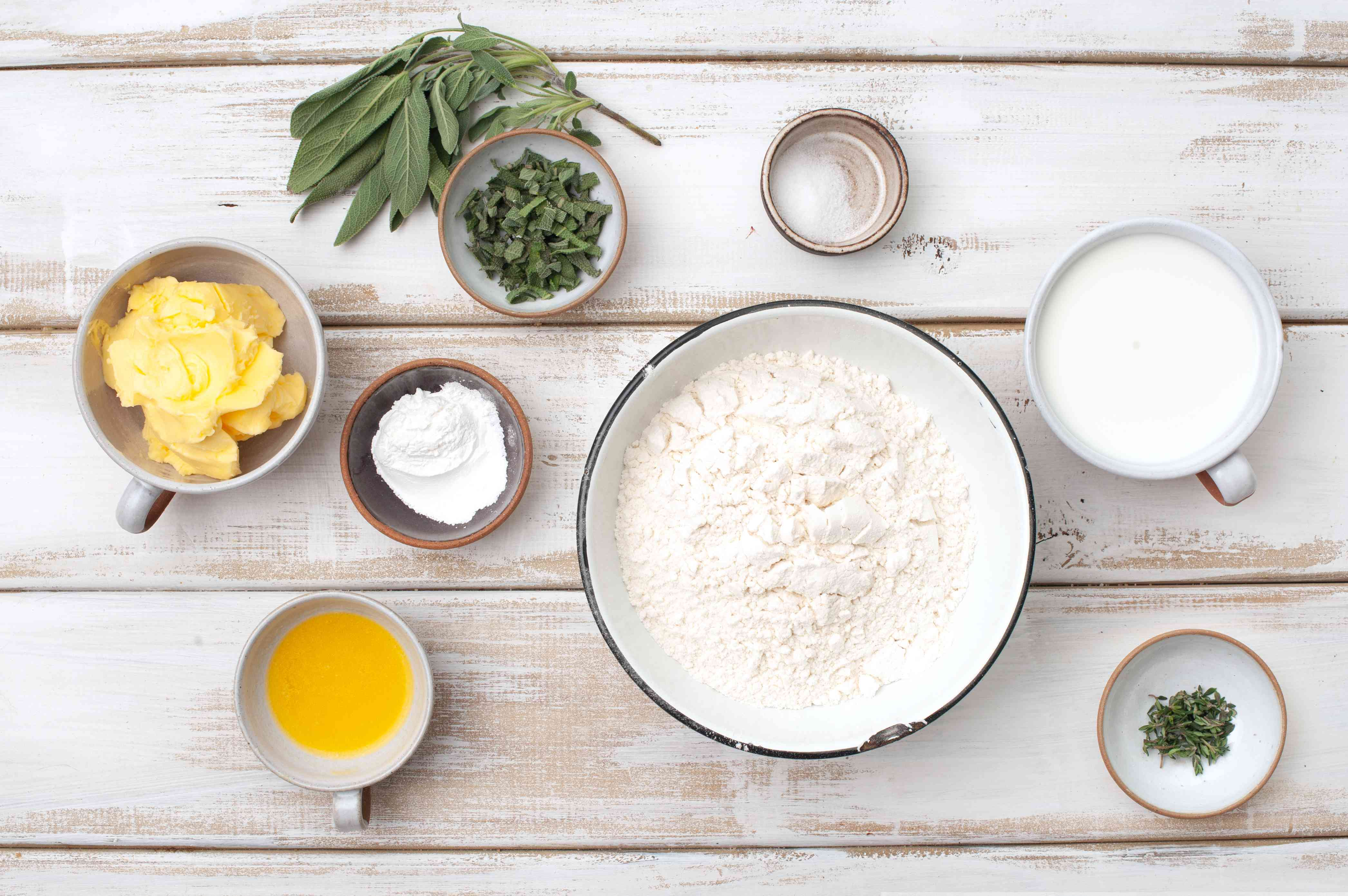 Ingredients for brown butter and sage biscuits