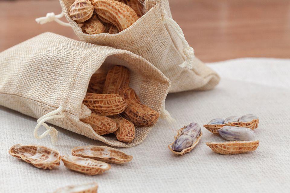 boiled peanuts on sack burlap