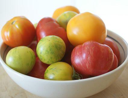 Multi-colored heirloom tomatoes