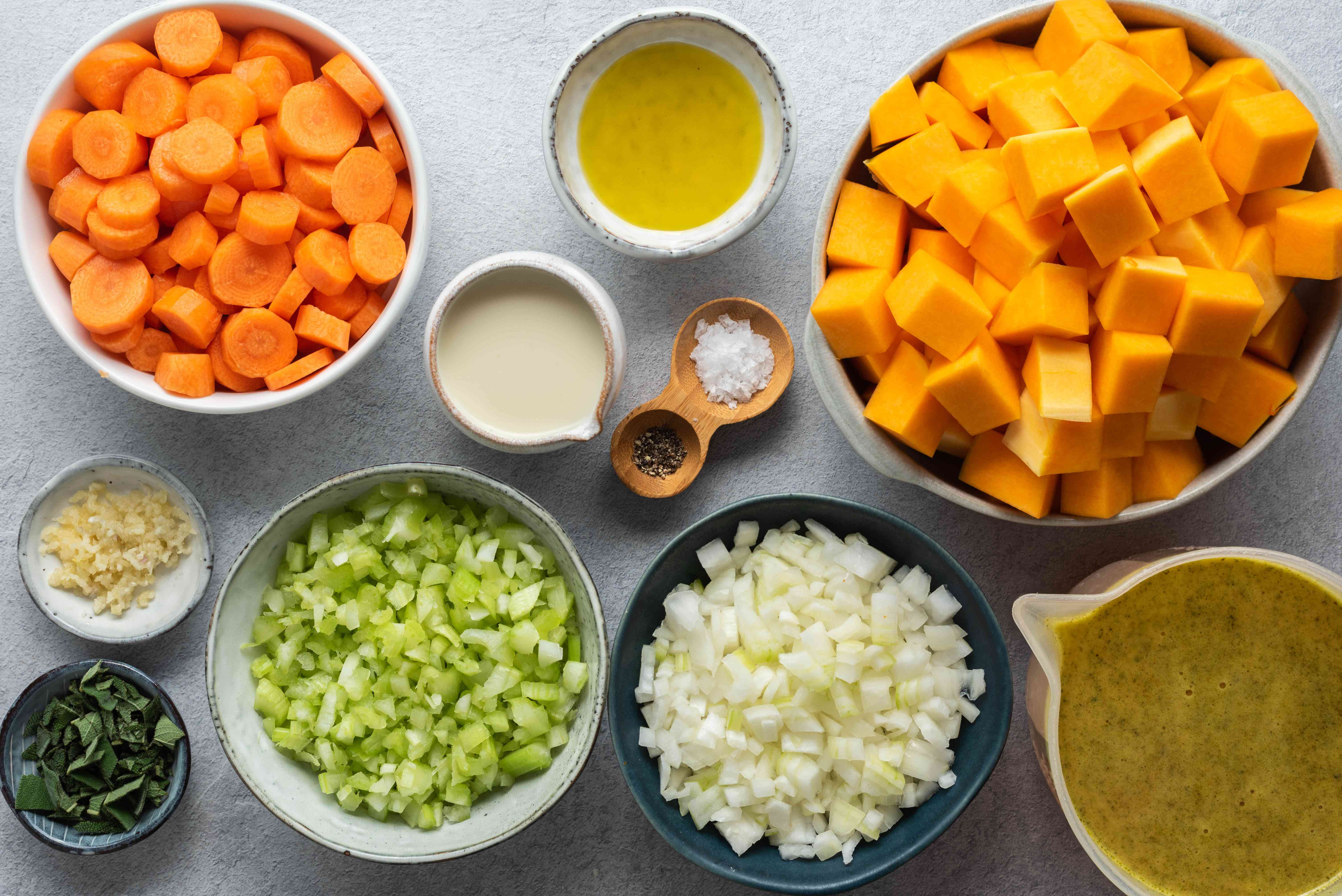 Ingredients for butternut squash and carrot soup