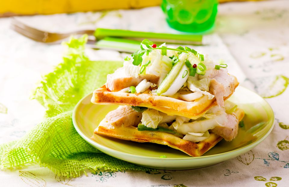Chicken salad and waffles