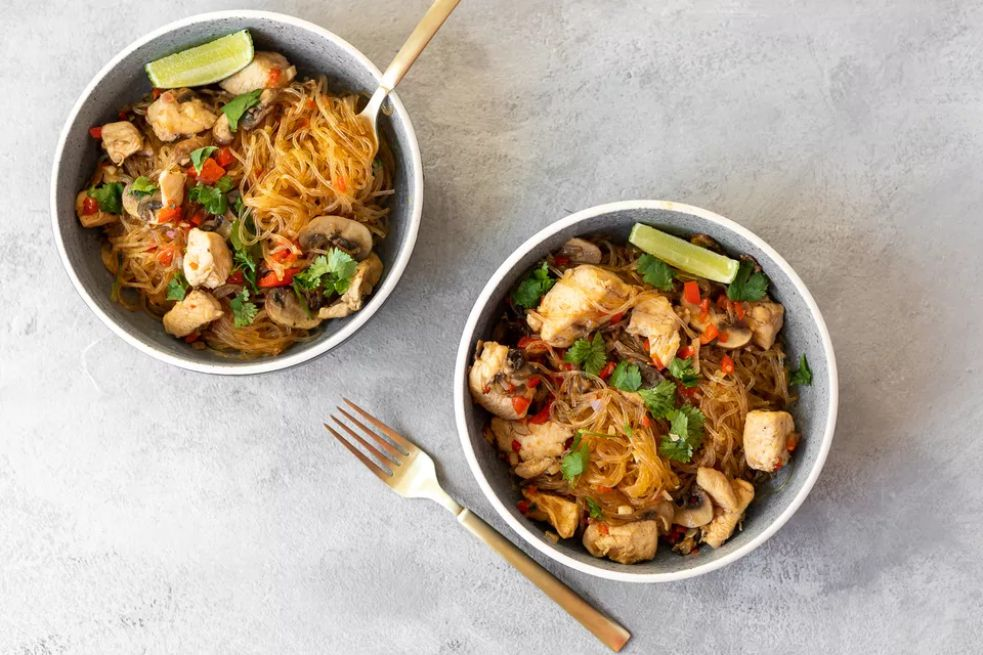 Gluten-Free Thai Glass Noodle Stir-Fry With Chicken and Vegetables