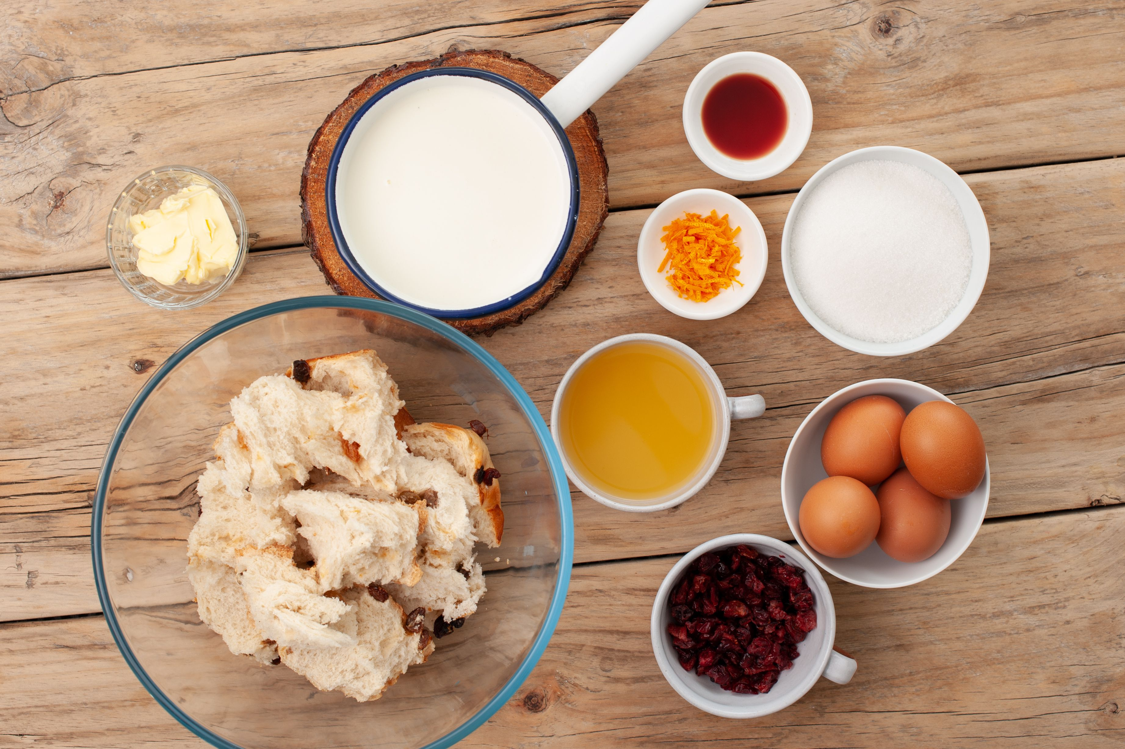 Ingredients for cranberry orange bread pudding