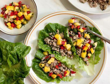 turkey lettuce wraps on plate