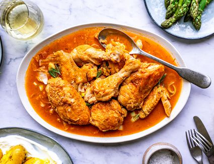 Braised chicken recipe on a serving platter