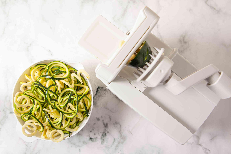 Zucchini Noodles next to a spiralizer
