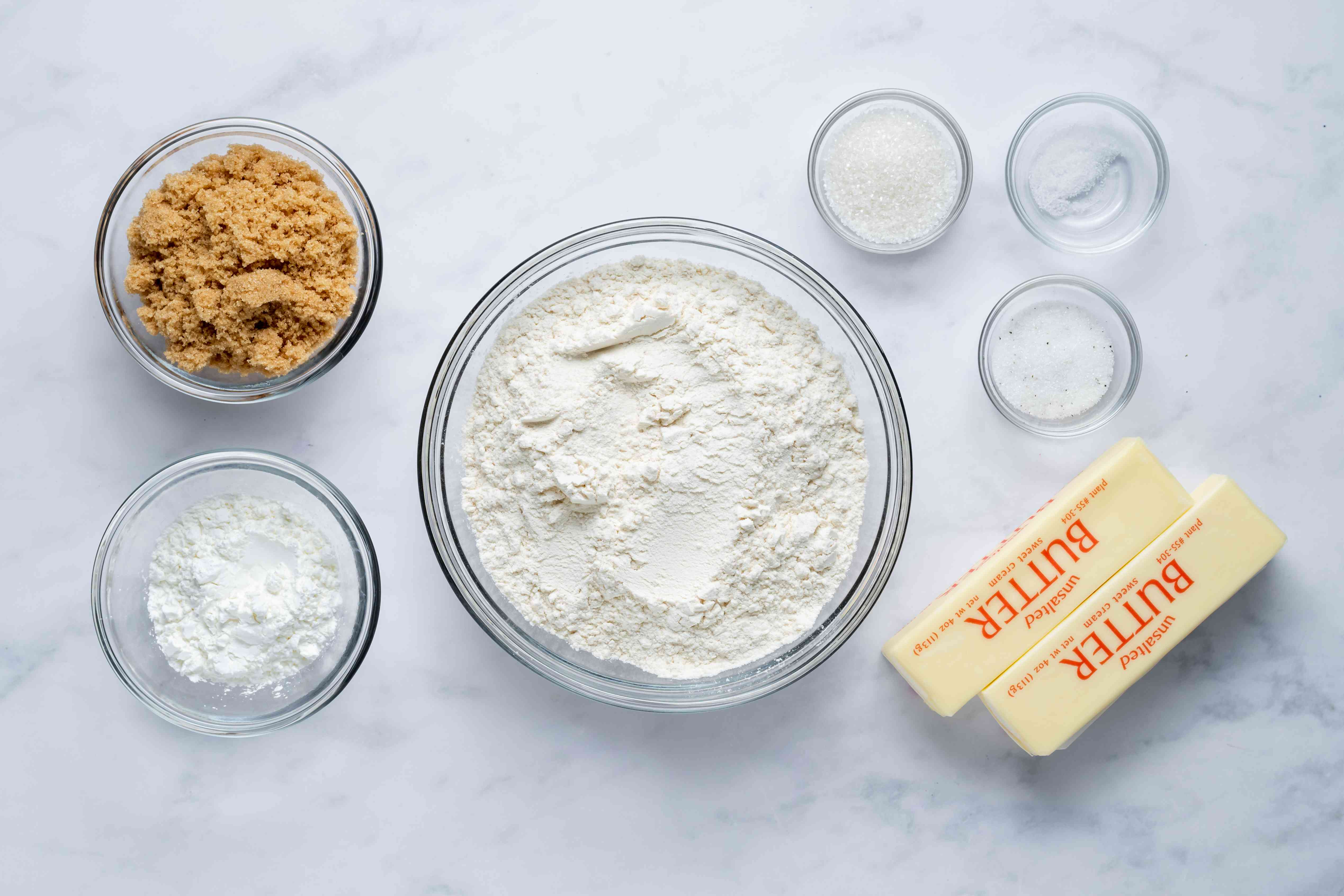 Ingredients for brown sugar shortbread
