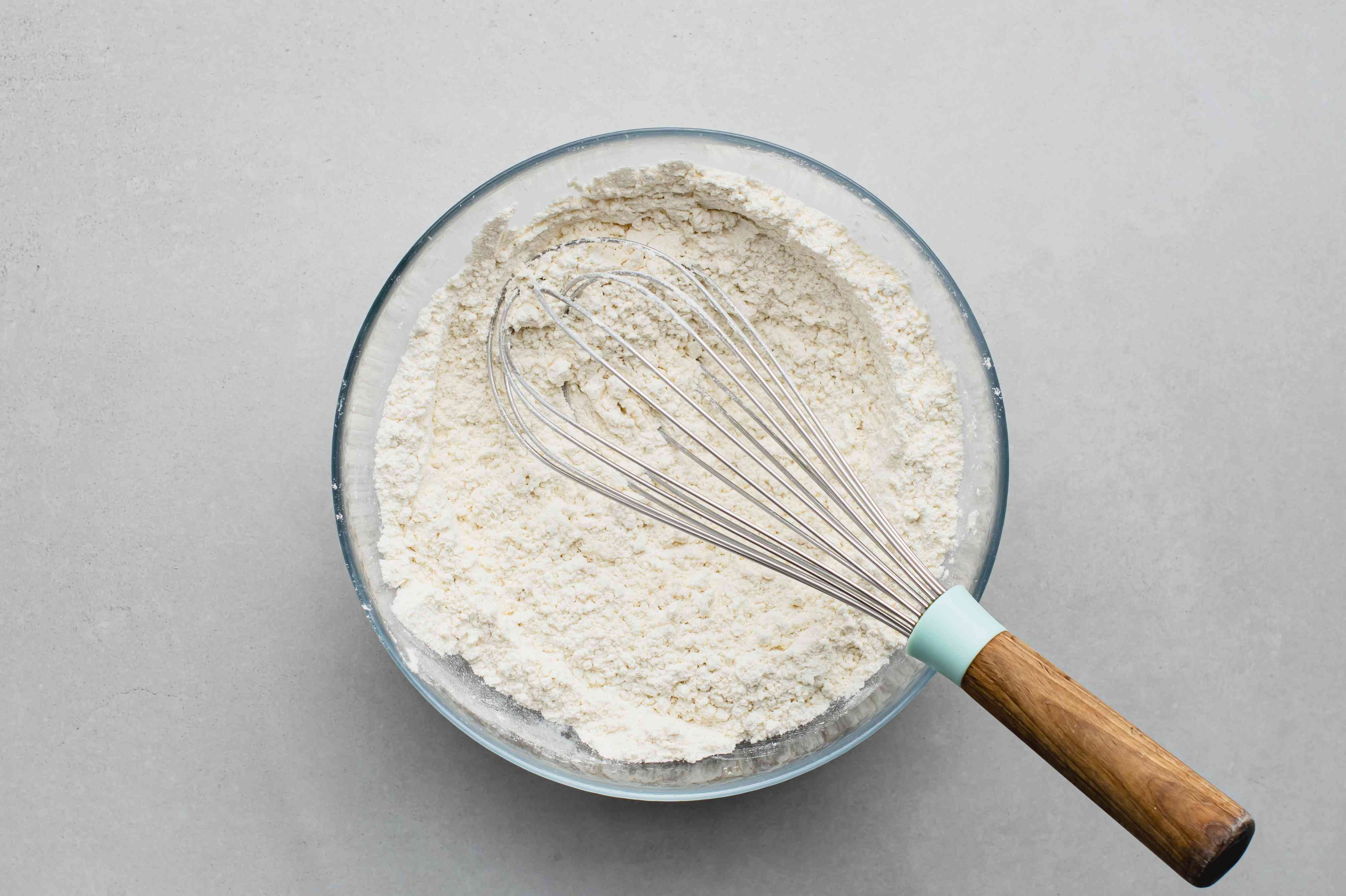 flour, salt, and baking soda in a bowl