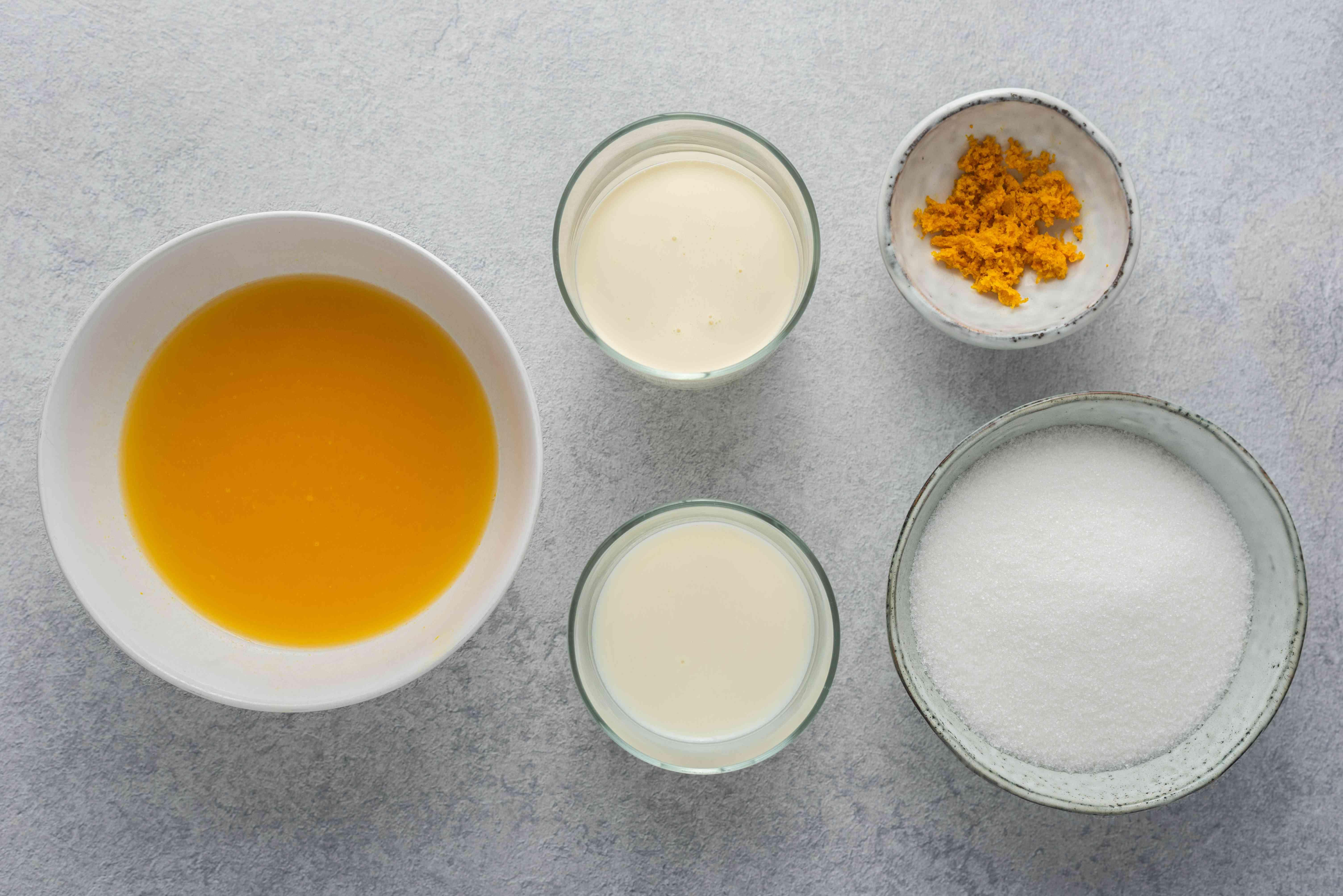 Homemade orange sherbet ingredients