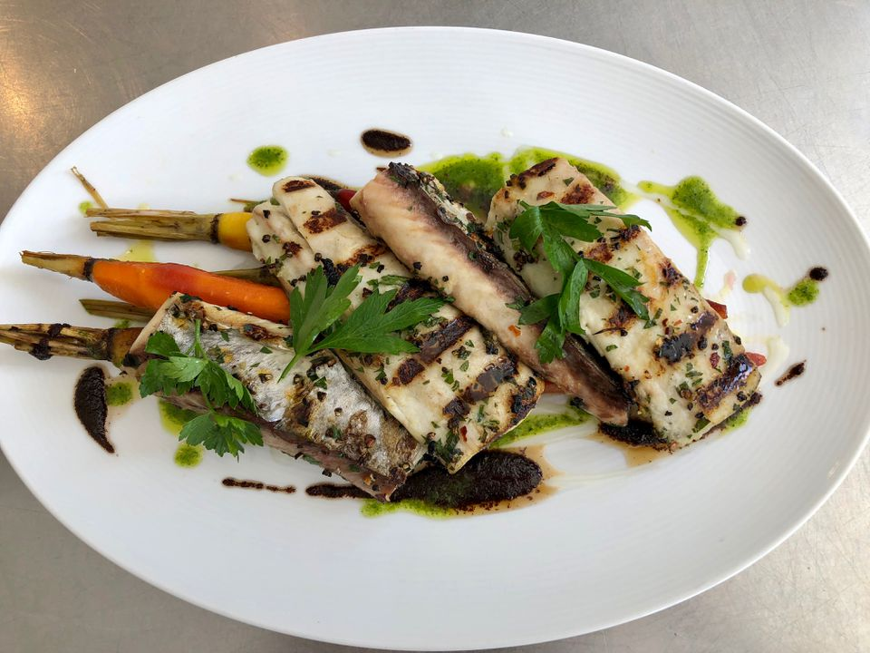 chef chris scott's grilled mackerel dish
