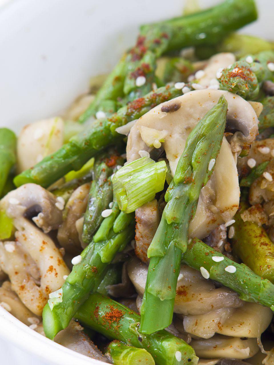 Closeup of asparagus stir-fry