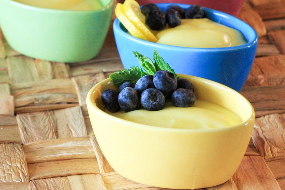 Lemon pudding with blueberries.