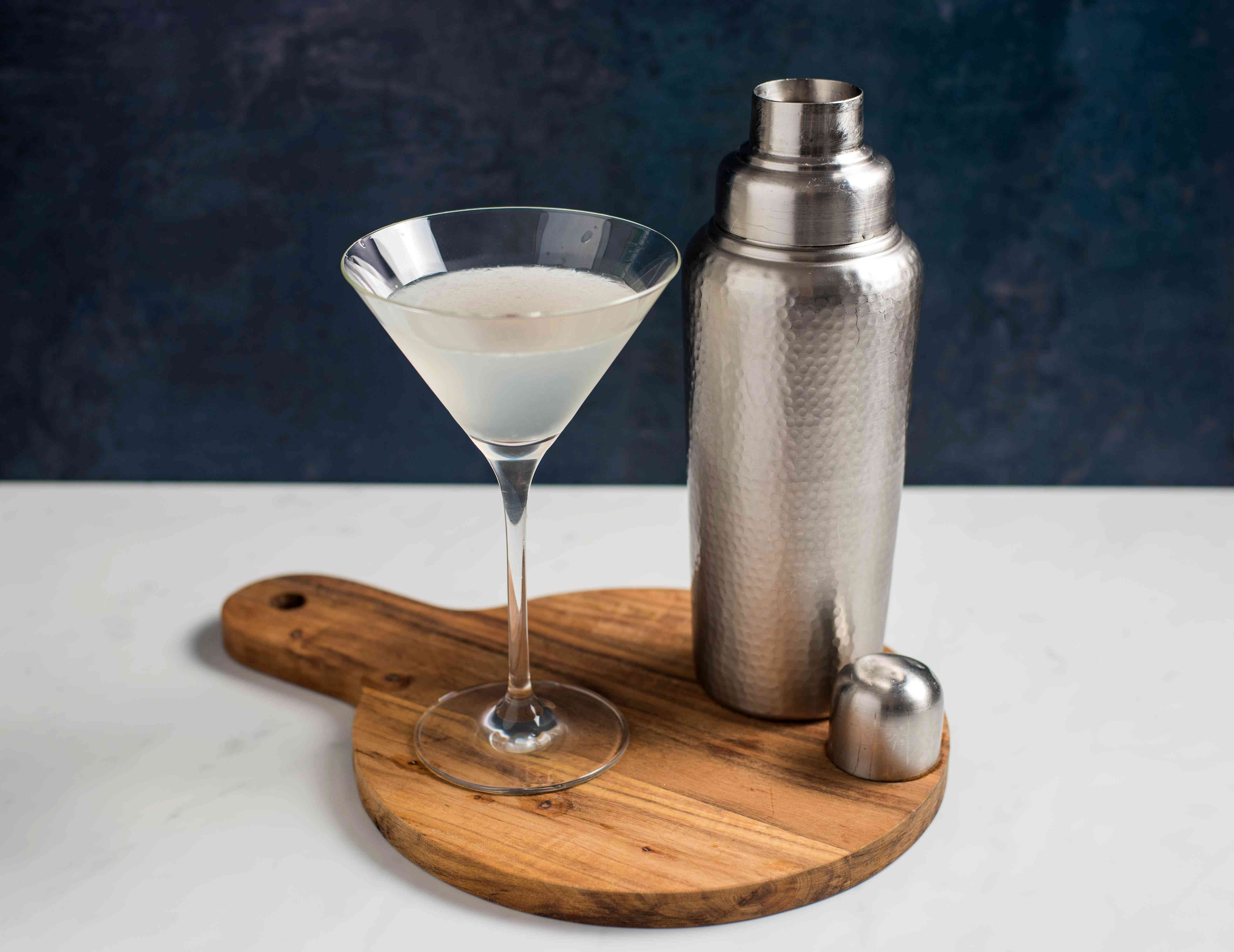 Strained cocktail in a glass