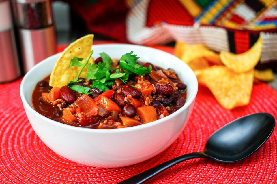 Vegetarian and vegan chili in a bowl