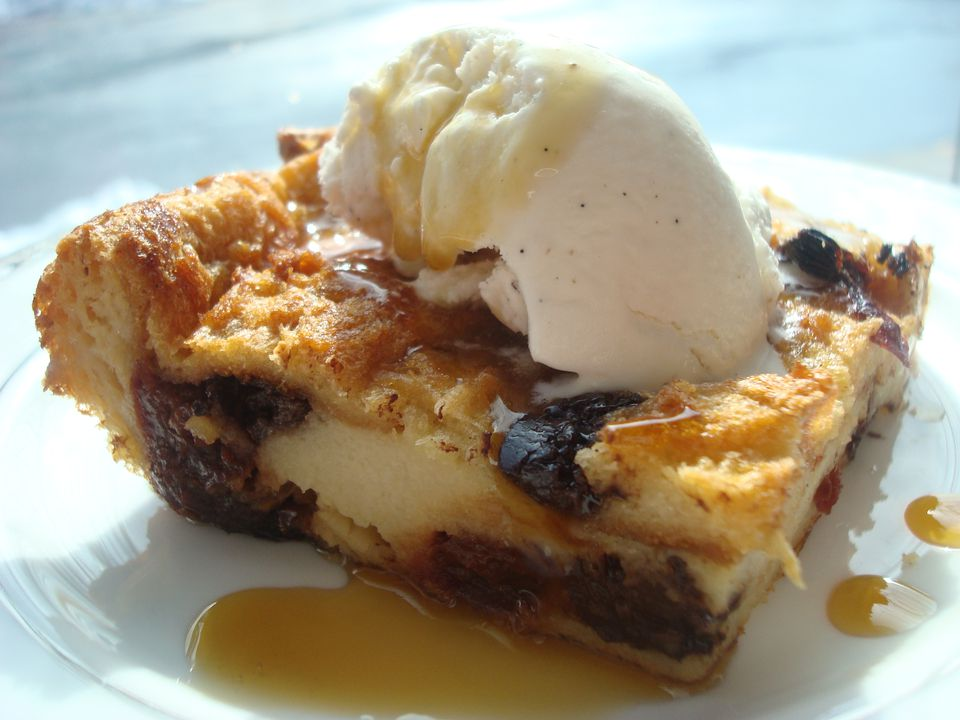 Challah Bread Pudding with Chocolate and Cherries