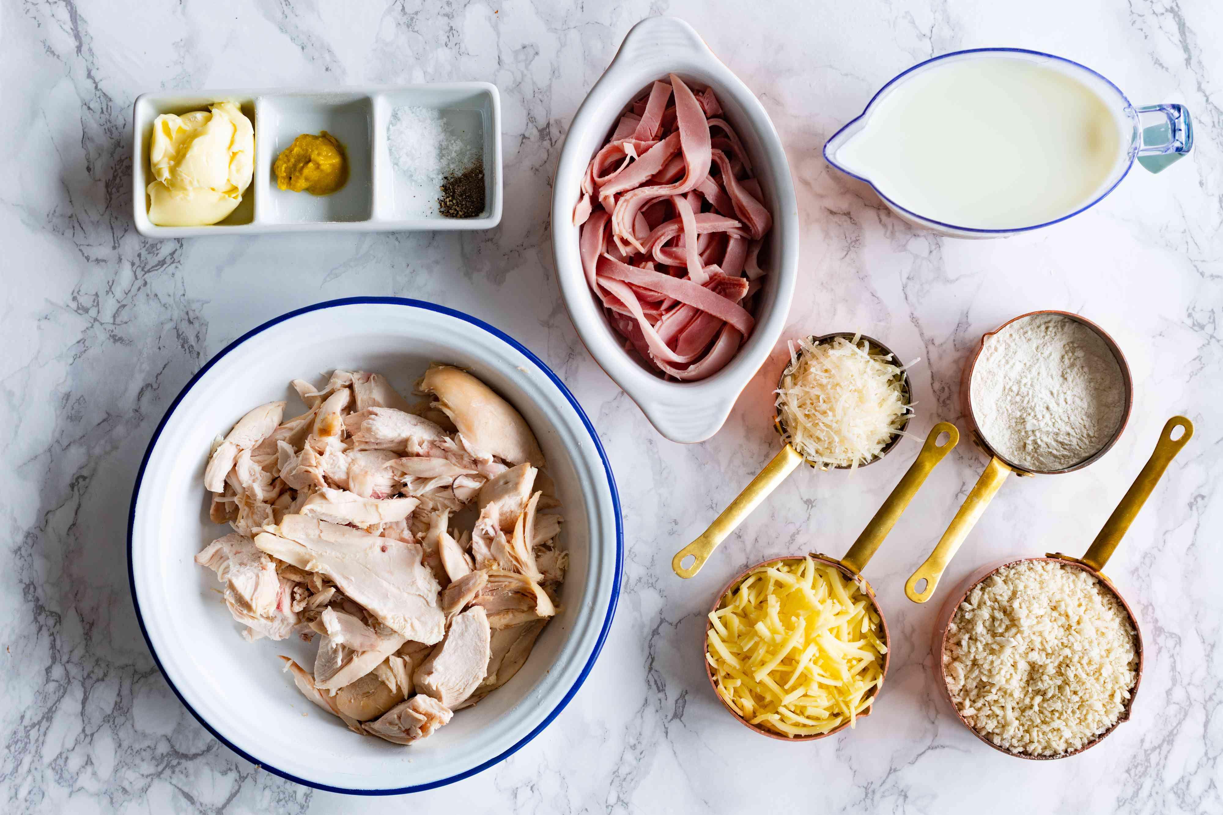 Gather the ingredients Chicken Cordon Bleu Casserole