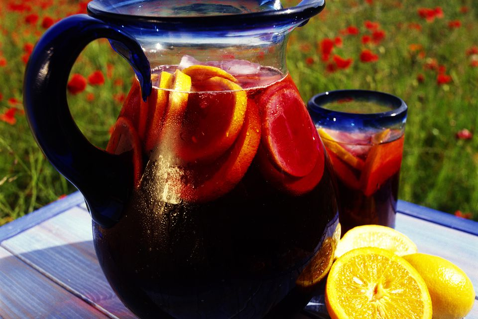 Pitcher of sangria on table