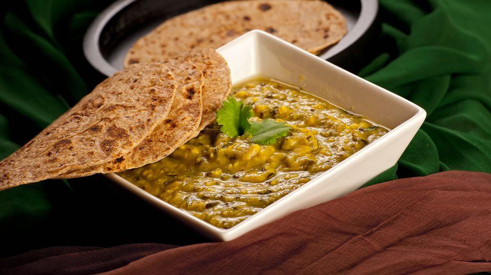 Yellow vegetarian split pea soup