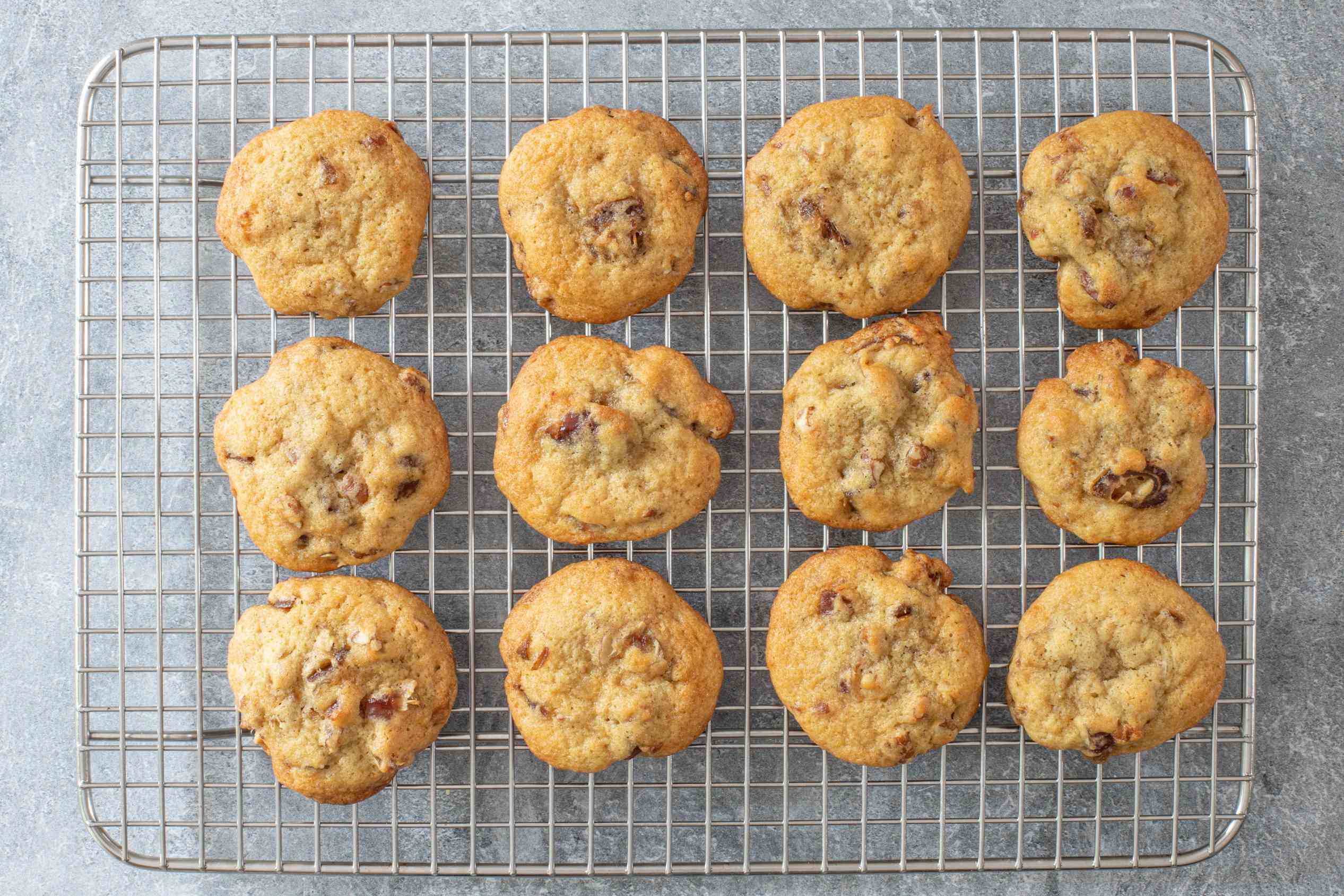 date cookies on a rack