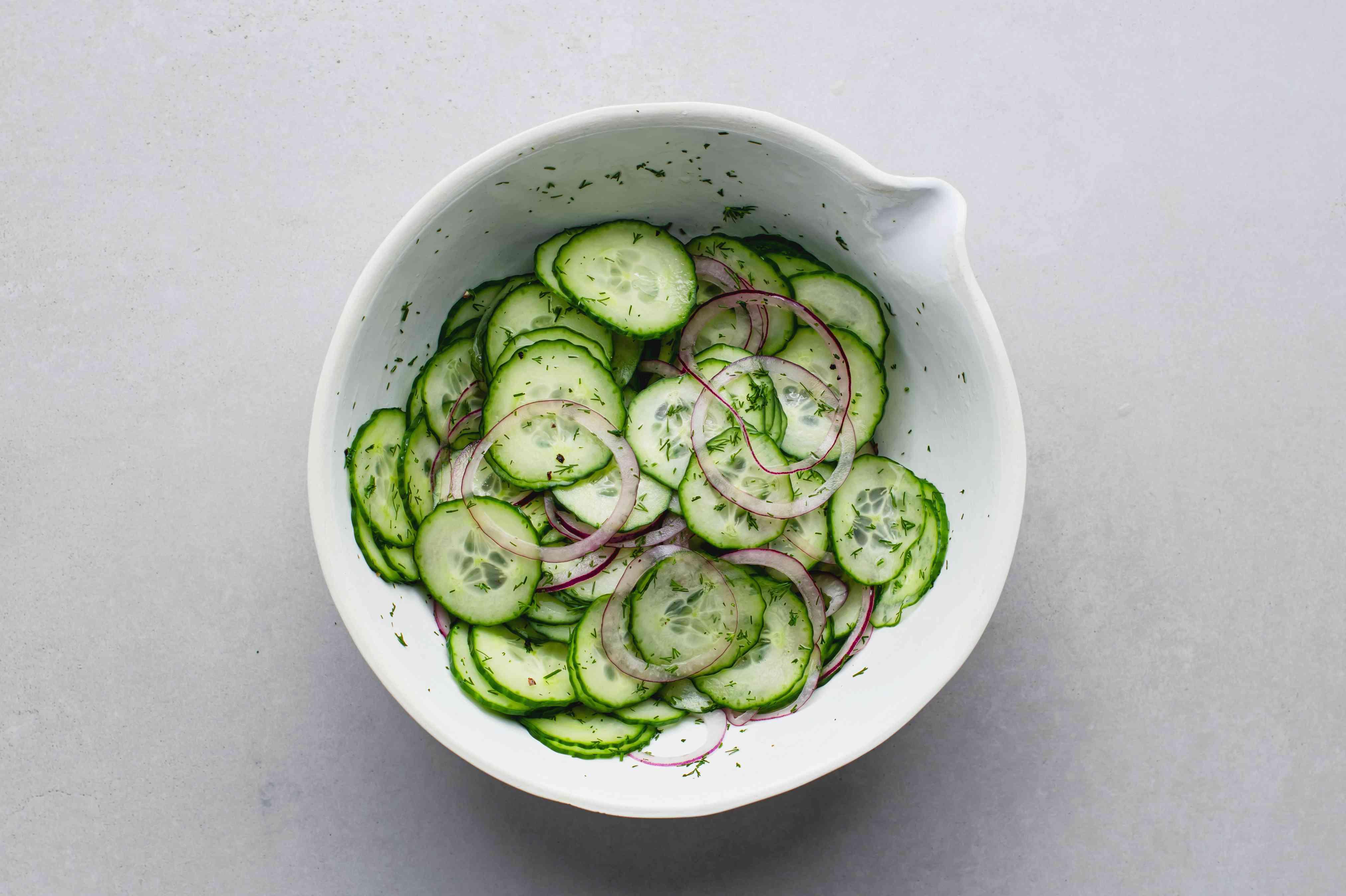 German Cucumber-Dill Salad (Gurkensalat) in a bowl