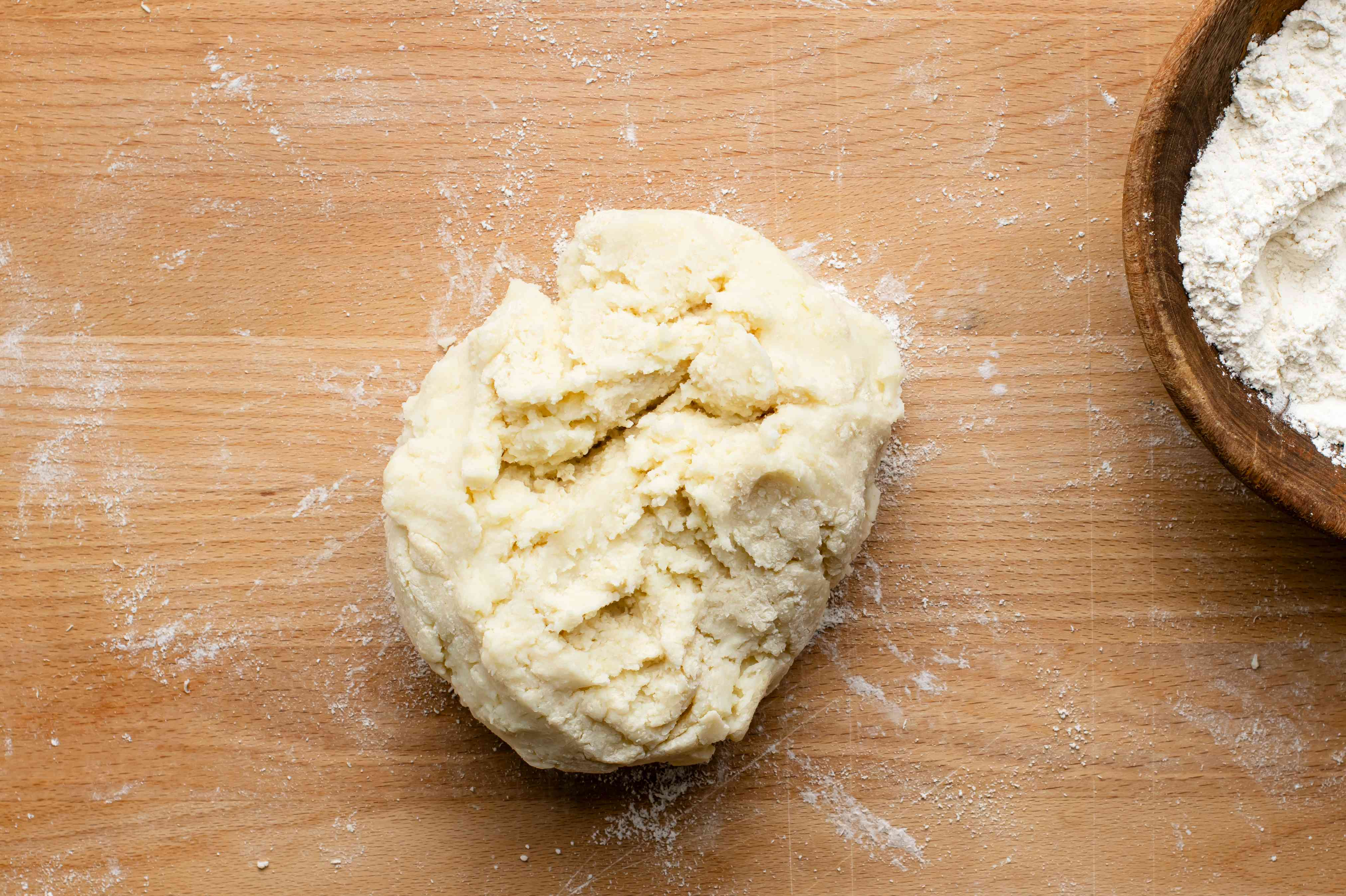 Potato and flour mixture kneaded together for gnocchi