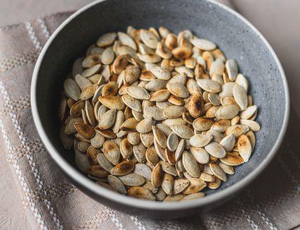Skillet toasted pumpkin seeds recipe