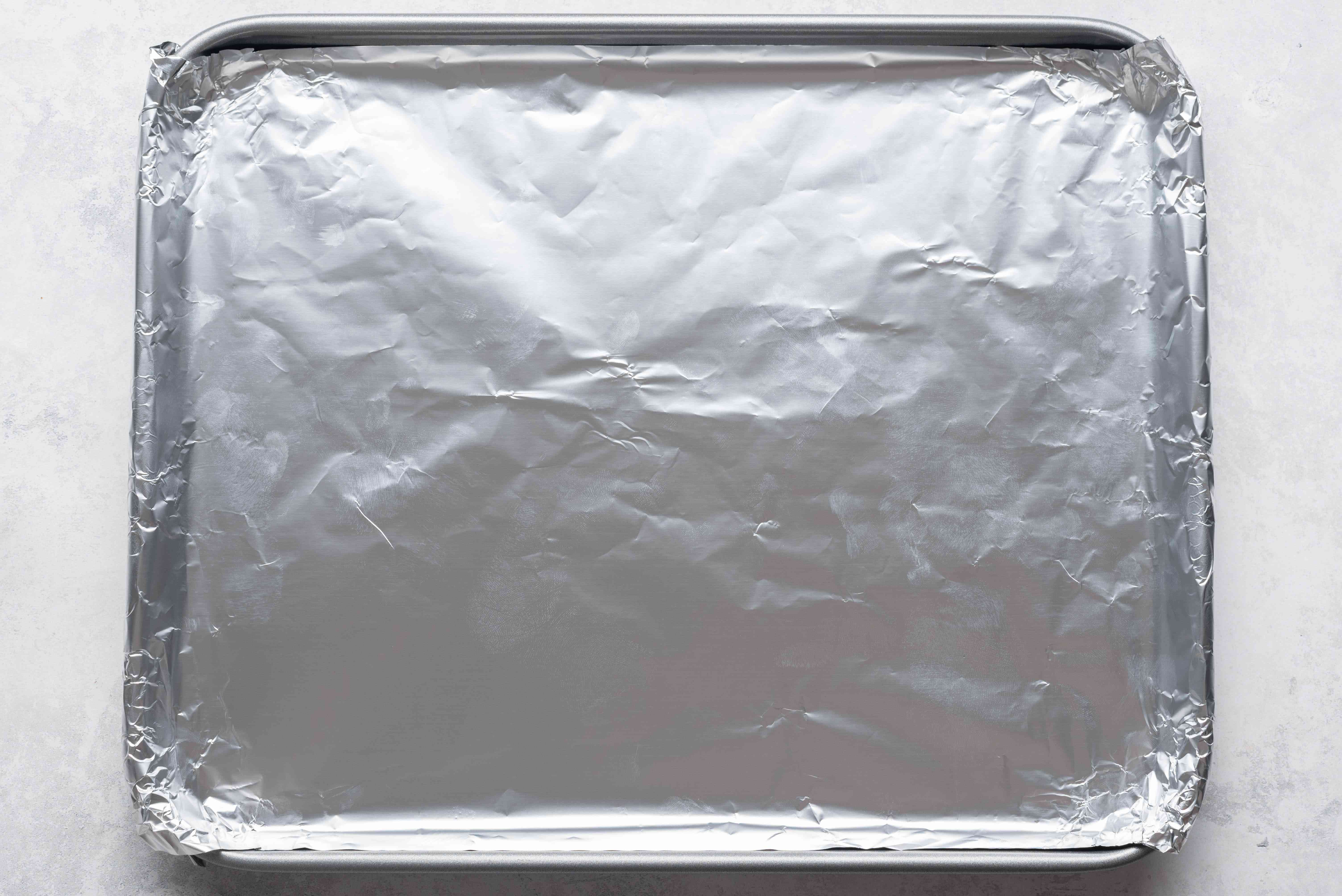 Baking pan lined with foil