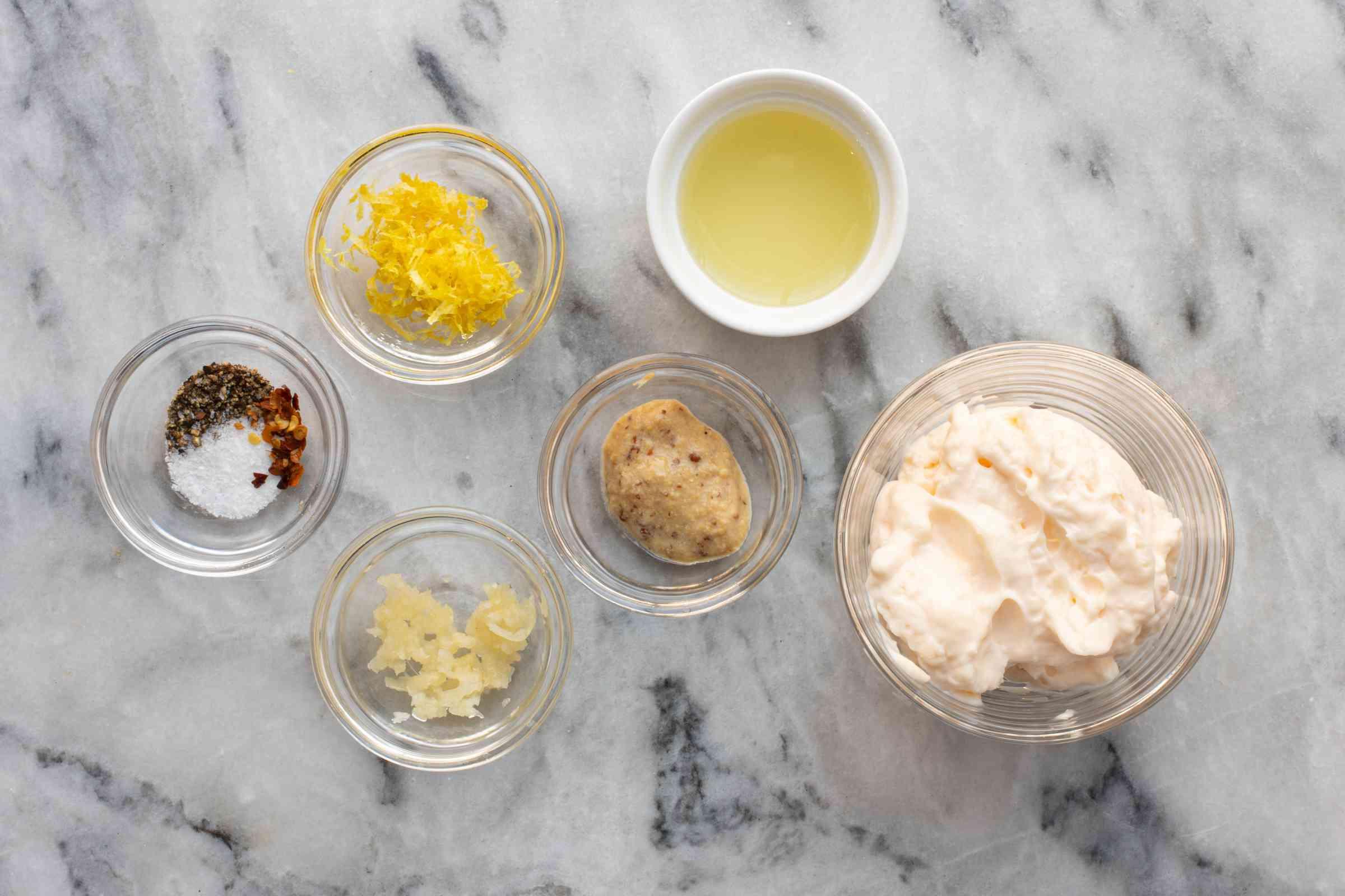 Ingredients for lemon garlic mayonnaise.