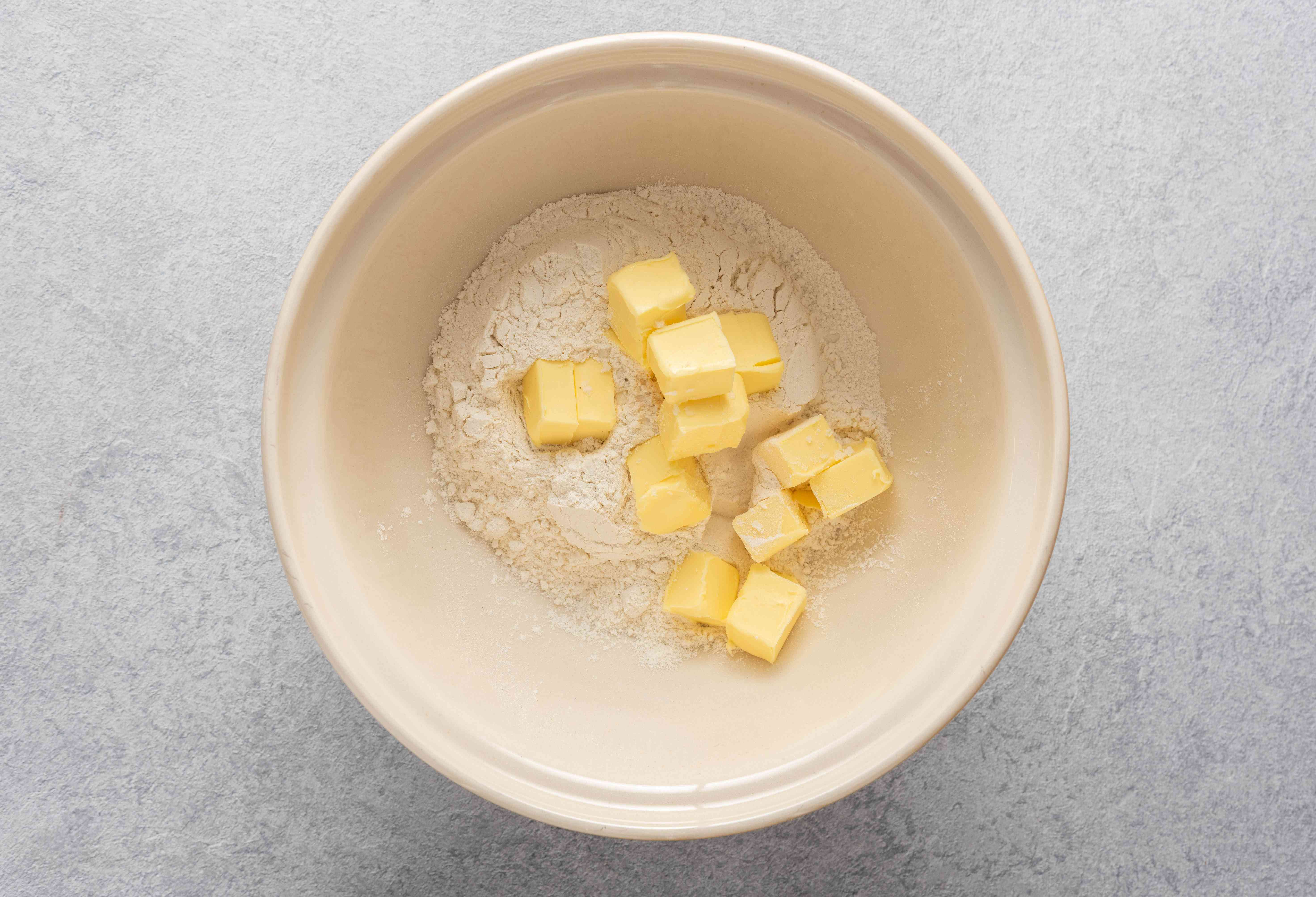 salt, flour and butter in a bowl