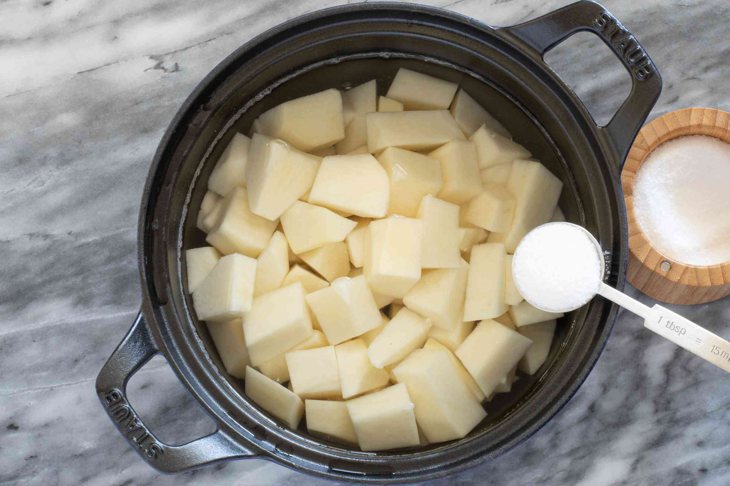 Add salt to the potatoes and water.