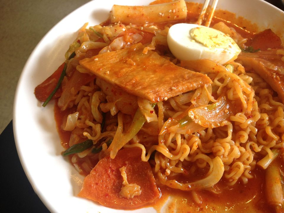 Ramen Dukbokki Rabokki on white plate