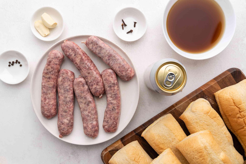 Grilled Beer Braised Bratwurst ingredients