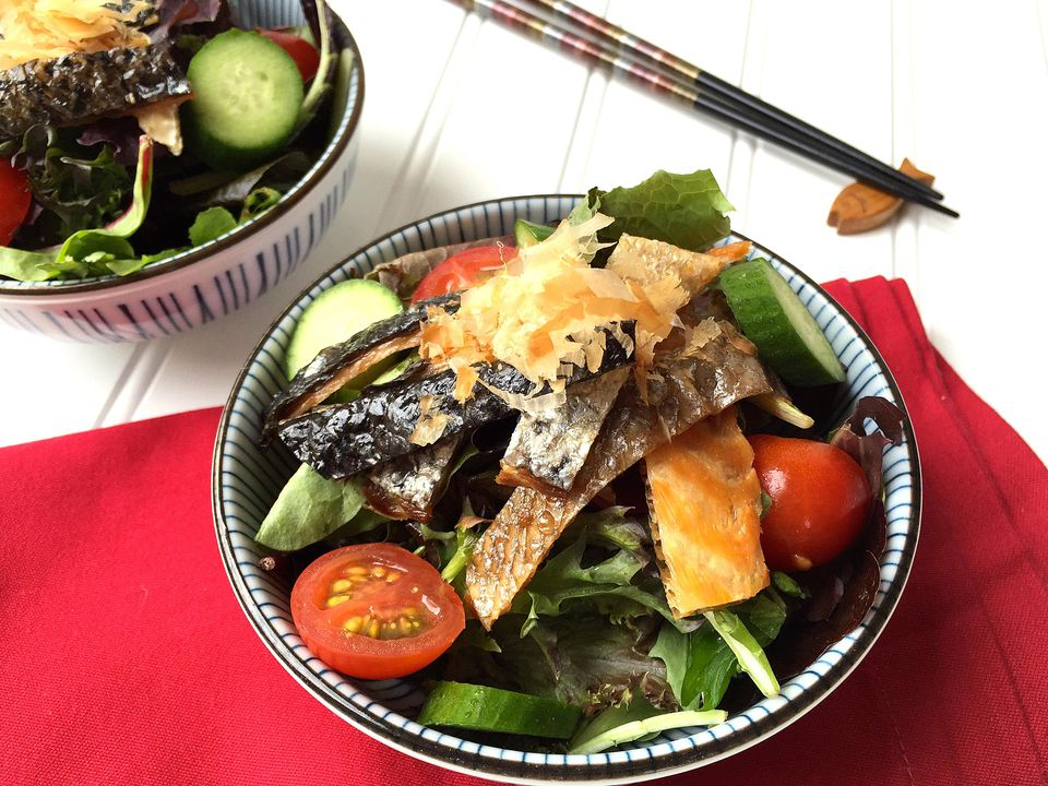 Mixed Baby Greens with Grilled Salmon Skin and Citrus Soy Dressing